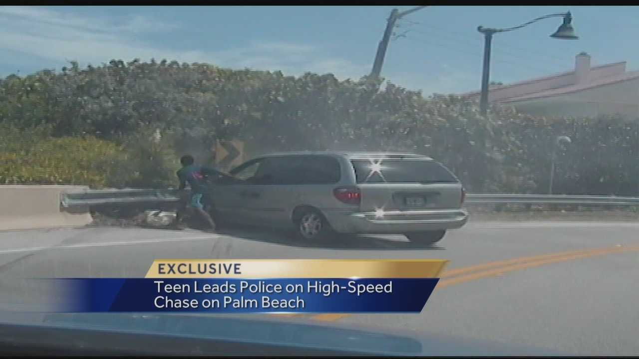 Dash cameras were rolling as a teenager led officers on a high-speed beachfront chase last month, ending in a crash.