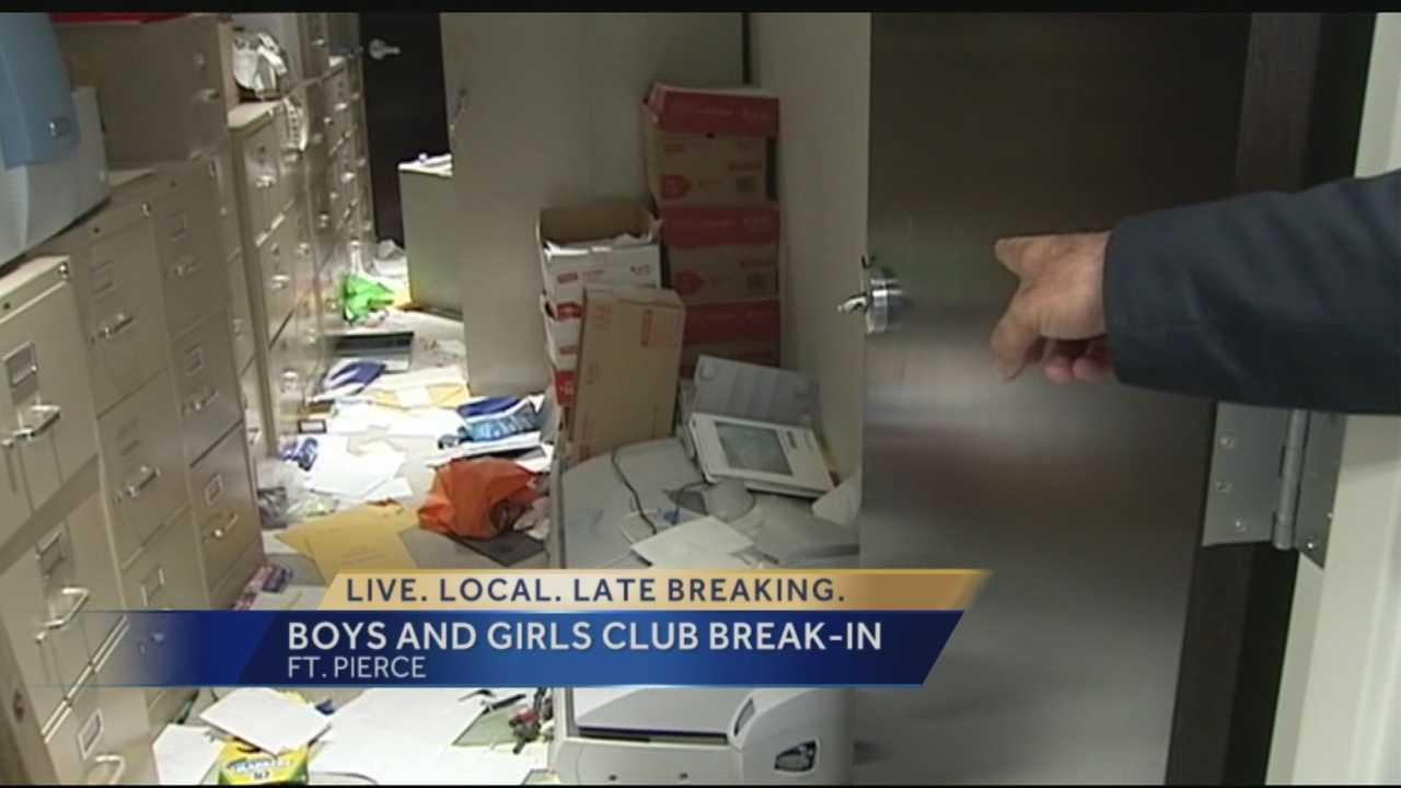 Police in Fort Pierce looking for suspects who broke into the Boys & Girls Club wrecking the building.