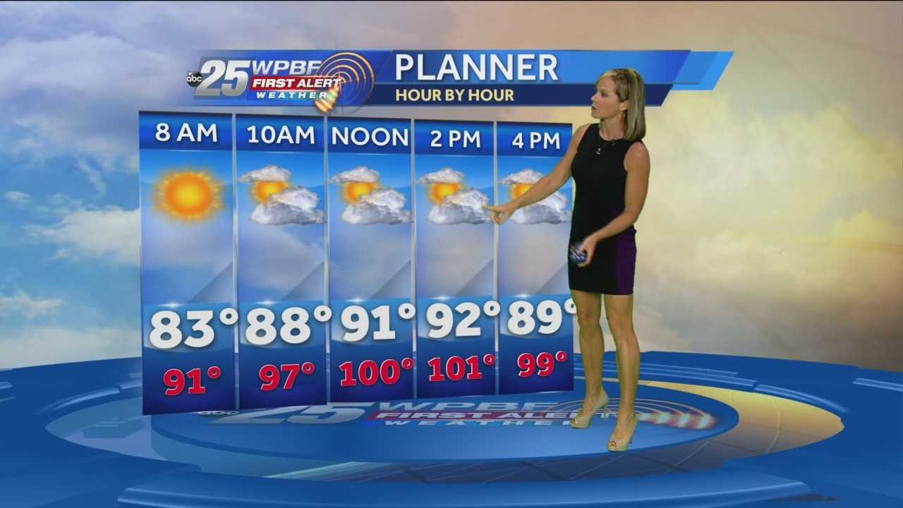 South Florida will battle heat indices in the triple digits today with actual highs surging into the middle 90s. Storm and rain chances, however, will go down today with just isolated activity expected.