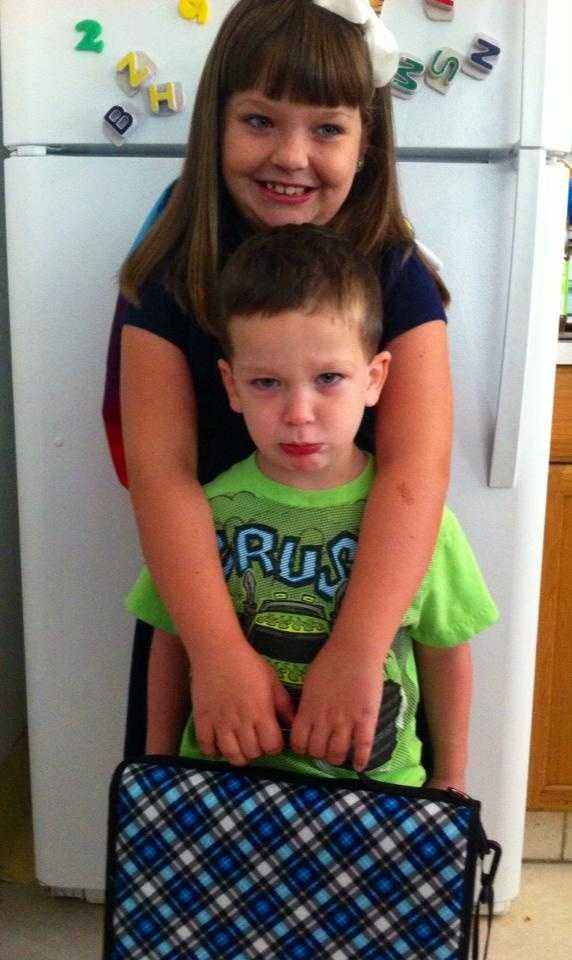 Big sis going to 4th grade. Little brother not happy.