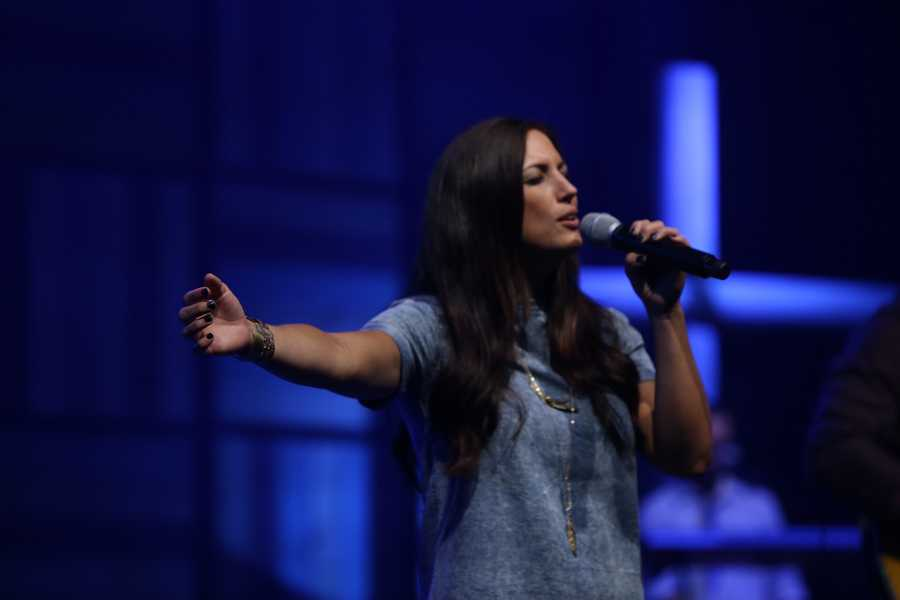 Christ Fellowship's high-energy music includes a performance of modern worship and original songs. This is singer Tara Baldwin.