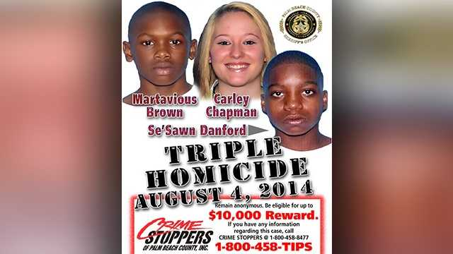 Crime Stoppers has increased the award to $10,000 for information leading to an arrest in a Mangonia Park triple murder case. Carley Chapman, 19, Martavious Brown, 17, and Se'Sawn Danford, 17, were shot and killed in 2014 by two men who stormed through the door of an apartment where the three were playing video games.