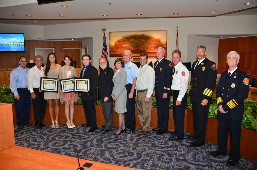 Essay-3 = Palm Beach Gardens City Council with 3 prize winners, Palm Beach Gardens Police Foundation President and Palm Beach Gardens Fire Chiefs.