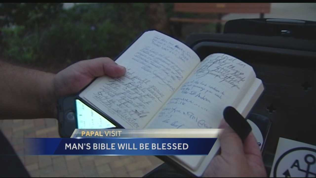 A Treasure Coast man will travel to New York on Thursday so he can have his Bible blessed by Pope Francis.