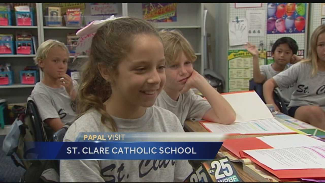 Students at St. Clare Catholic school in North Palm Beach are excited about the Pope's visit to the United States. They've turned the historic moment into a learning lesson.