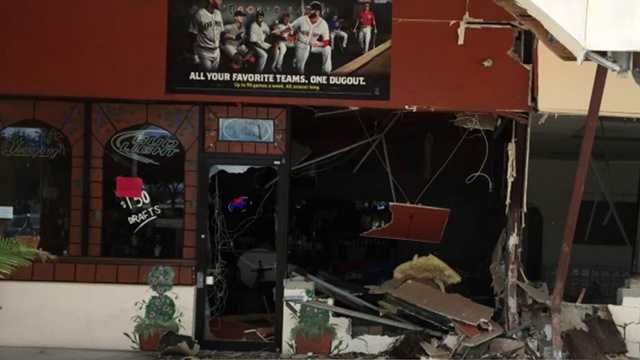 An SUV plowed into the dining room of a Fort Pierce pizzeria early Sunday morning but owners said they had the kitchen next door back in operation before lunch.