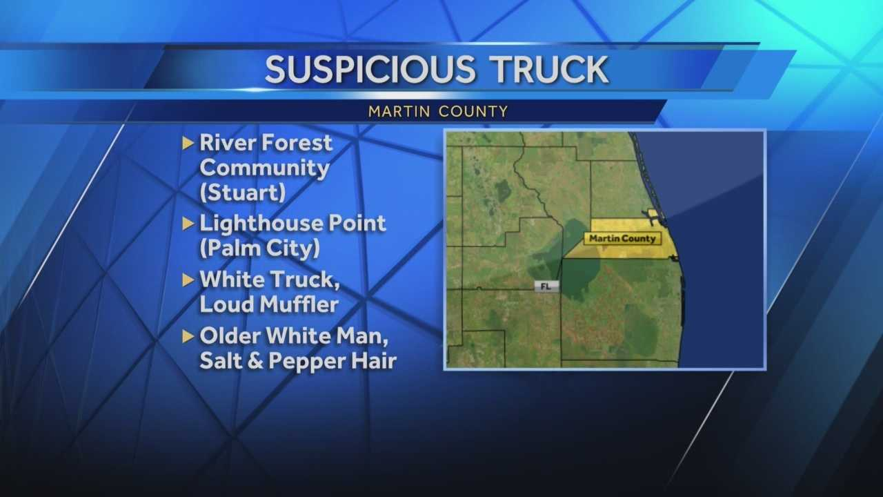Martin County Sheriff's Office deputies are searching for a suspicious vehicle after receiving five separate complaints Sunday.