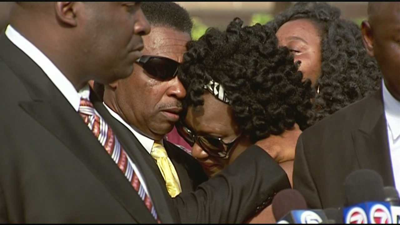 The family of Corey Jones held an emotional news conference Thursday morning outside the Palm Beach County Courthouse.