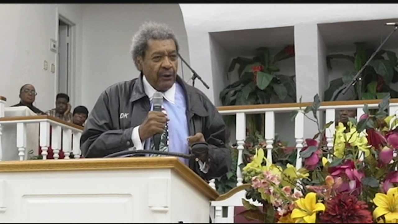 "Boxing promoter Don King called for sweeping changes to ""the system"" in the wake of the shooting death of Corey Jones. King spoke at a community rally in Jones' honor Monday night at the Hilltop Baptist Church in Riviera Beach. He started by addressing Jones' family."