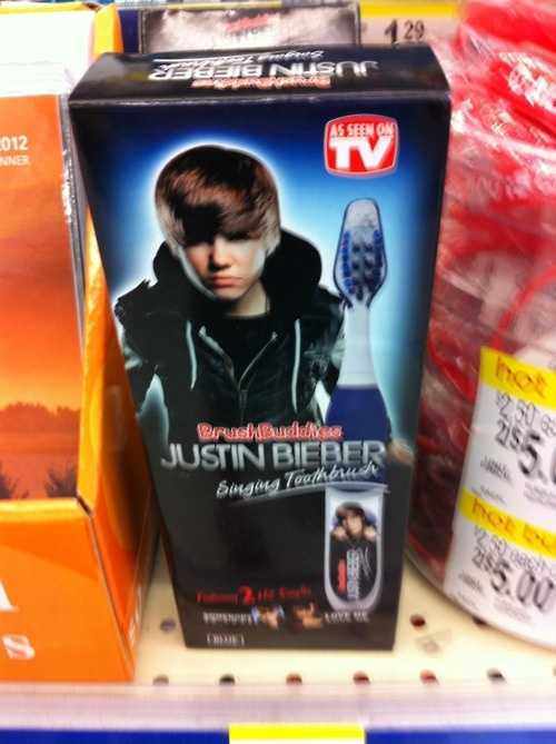 We don't want to hear the real Bieber sing, let alone the toothbrush!