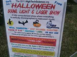 "Deputy City Manager George Brown says Rick Newman's ""Halloween Sound, Light & Laser Show"" violates zoning regulations."