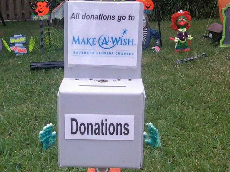 Rick Newman says the donations he receives goes to the Make-A-Wish Foundation.