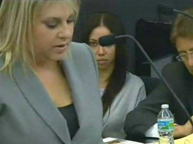 April 2011: Dalia Dippolito watches as prosecutor Elizabeth Parker makes her opening remarks.