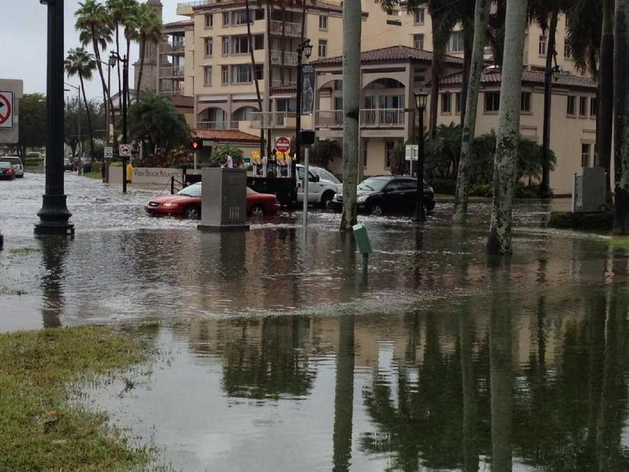The campus of Palm Beach Atlantic University looks like a lake courtesy of the steady rain.