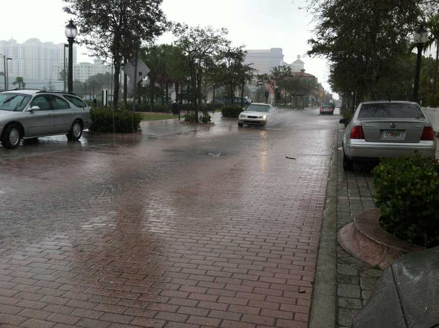 Flood waters fill Rosemary Avenue.