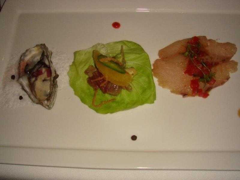 Nusqually West Coast Oyster, Tuna Tartare, Hamachi Sashimi