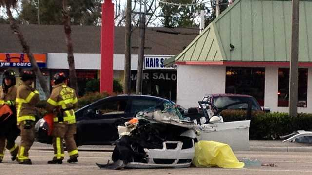 Crews were called to Okeechobee Boulevard and Spencer Drive after three cars collided Friday morning.