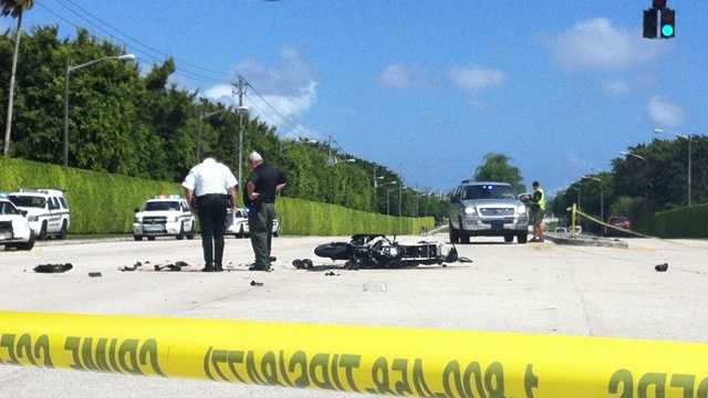 A motorcyclist was killed in a collision with an SUV outside the Wycliffe Country Club.