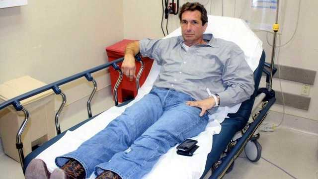 Here's Goodman in the hospital after the accident.