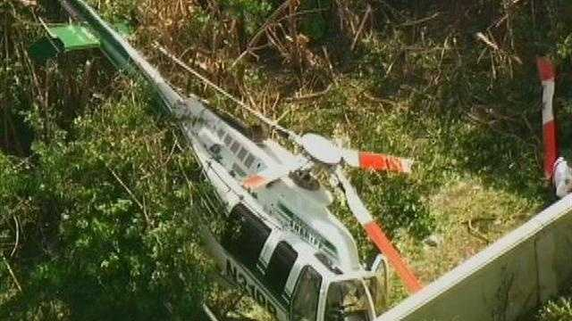A Palm Beach County Sheriff's Office helicopter made a hard landing in a Delray Beach community Friday.