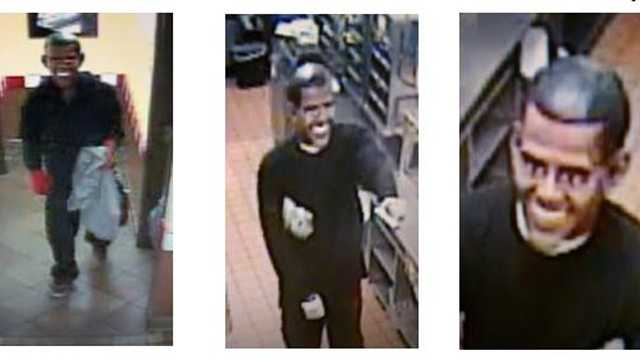 There are the many faces of the Obama robber who has struck four different fast-food restaurants in Palm Beach County since December.