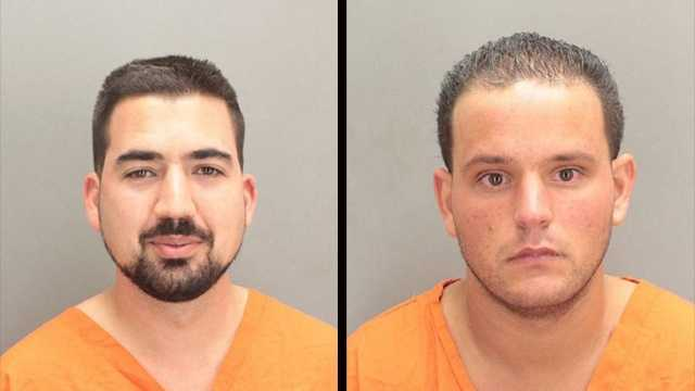 Jeffrey Piccolella (left) and Nichols Puccio are accused of firing a gun out of their hotel window.