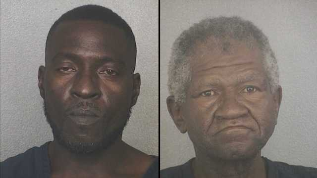 Fred Burke (left) and Charles Wright are accused of stuffing 28 cartons of Newport cigarettes down their pants.
