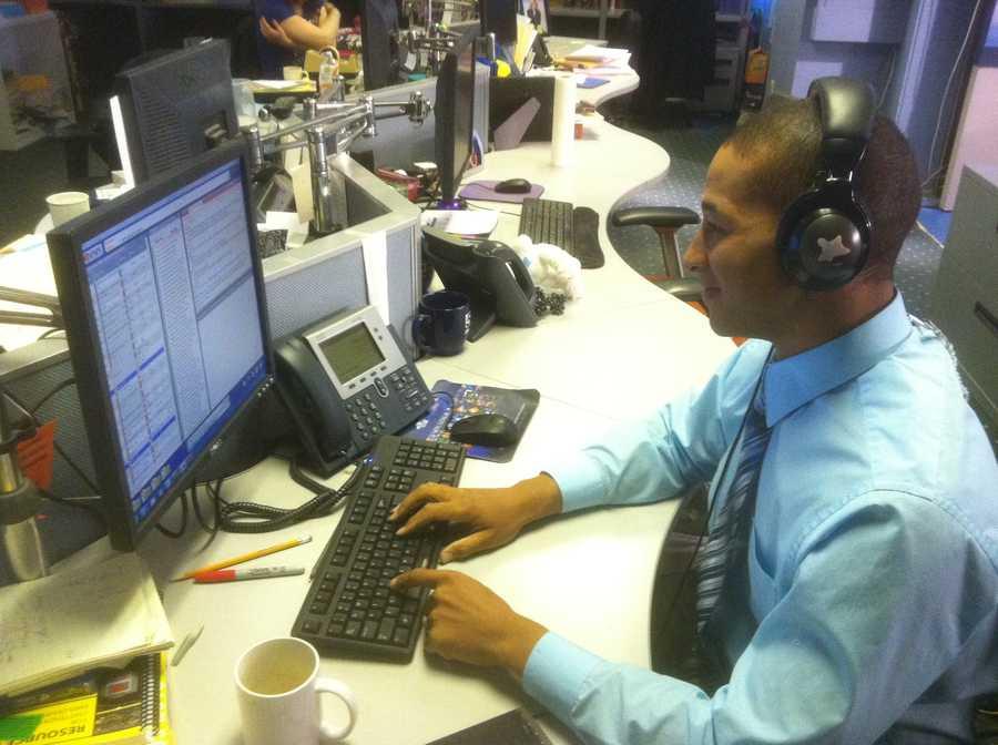 Matt prepares in the newsroom before the show.