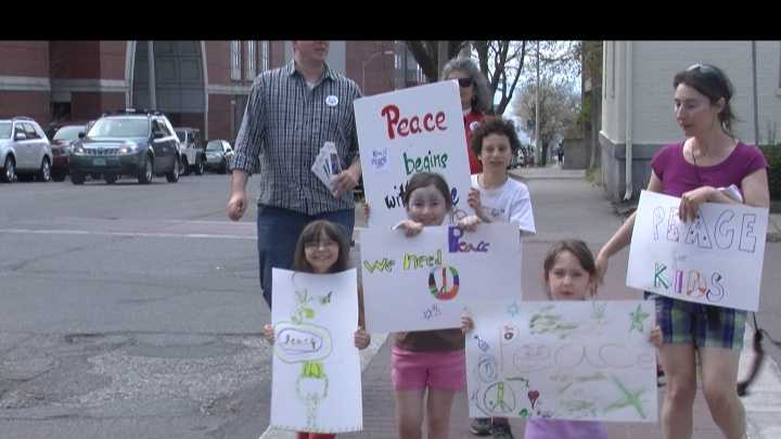 """""""Kids4Peace Vermont"""" staged their third annual peace walk Sunday afternoon."""
