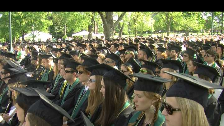 Many studies say the job market for college graduates is still weak -- but improving. For the 3,202 UVM students graduating Sunday, that news was icing on the cake to an already cheery, funny commencement.