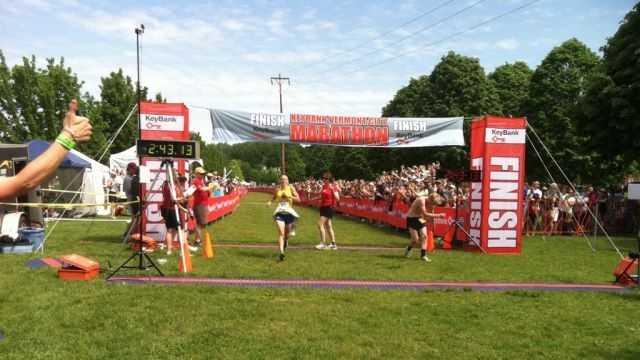 Kasie Enman Finish, Vermont City Marathon Winner, Sunday May 27, 2012