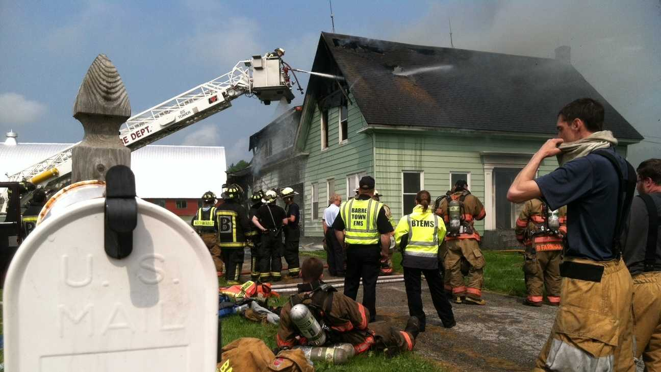 A century old farmhouse in Barre City burned Tuesday morning, the apparent result of a lightning strike.