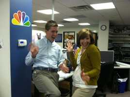 Bridget and NECN's Jack Thurston get into the jazz hand spirit!