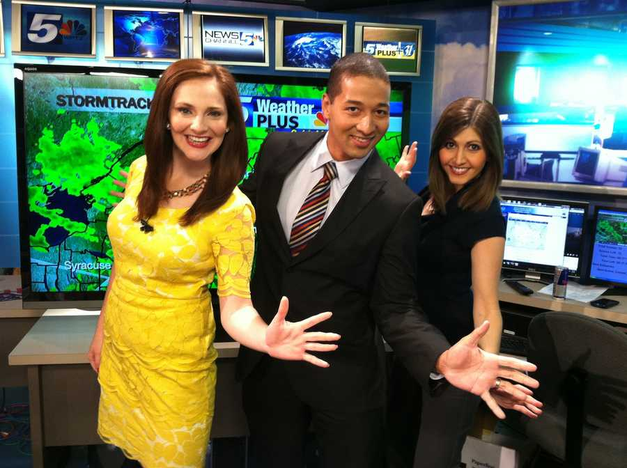 Hayley, Matt and Courtney pose their jazz hands for the camera!
