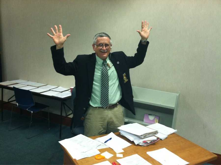 Court officer at Chittenden County shows of his jazz hands.