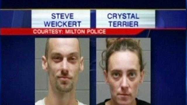 Milton police arrest a man and woman on Monday for at least 11 burglaries across multiple towns. They say the duo was feeding an opiate addiction.