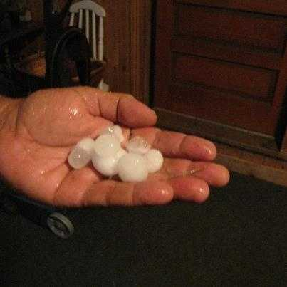 Cheryl Oliver of Mooers, N.Y. shared this photo. The Fourth of July storm that blew through the region dropped gumball sized hail.
