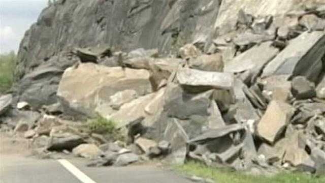 More than 100 tons of stone topple onto the Interstate, near Exit 6.