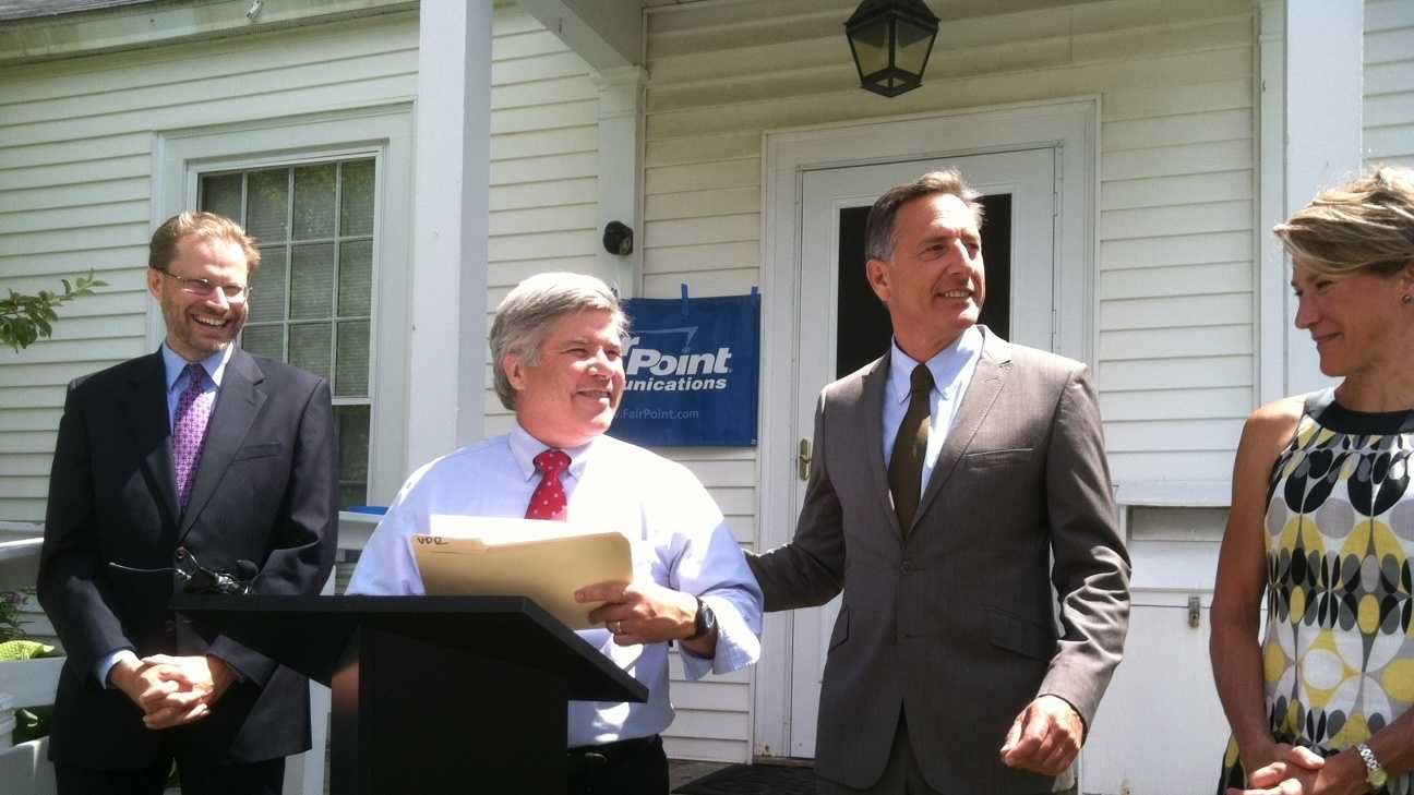 airpoint Vermont President Mike Smith, with Gov. Peter Shumlin and state telecom leaders, mark completion of broadband network expansion into remote areas of Lamoille County.