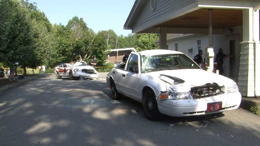 A Newport, Vermont, man is accused of crushing seven police cruisers with a farm tractor.