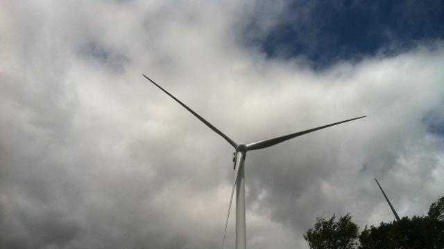 A wind turbine in Lowell.