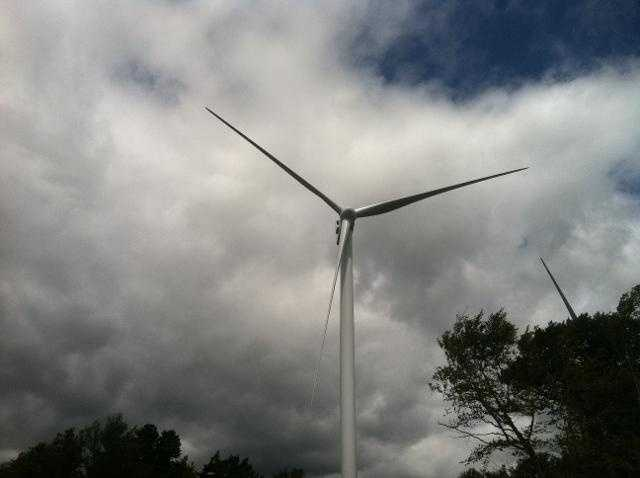 A wind turbine in Lowell.