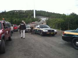 Vermont State Police Canine Unit arrive at Lowell Mountain.