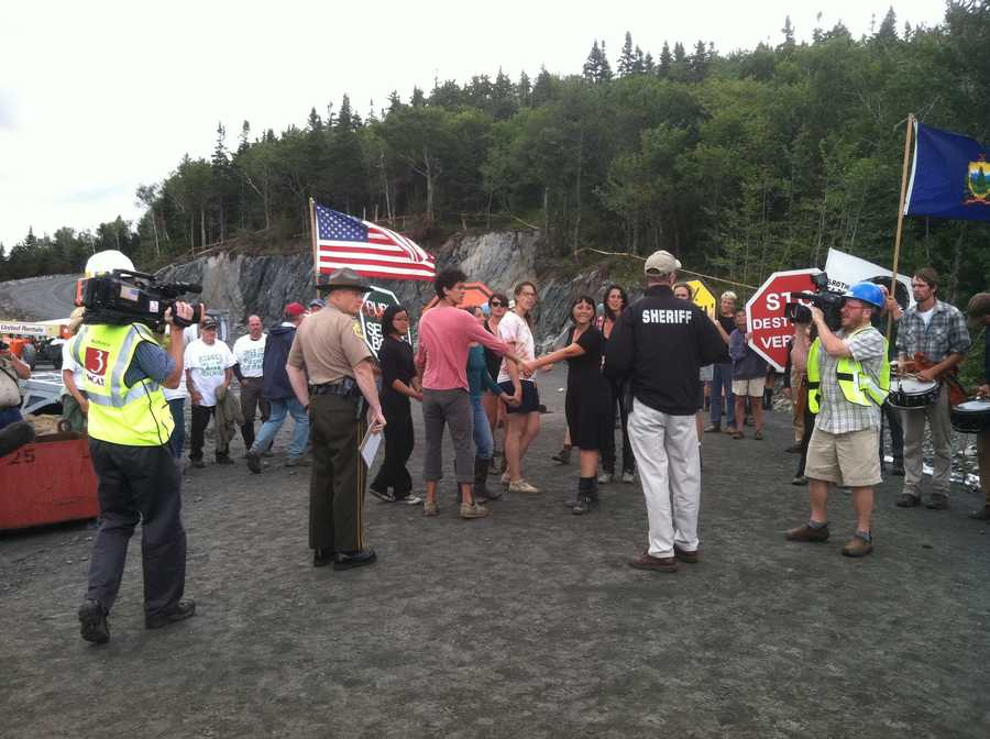 The Mountain Occupiers block the access road to the wind turbine construction site on Lowell Mountain.