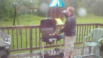 Andre Chauvin of Morrisonville, NY submitted this photo. He said not even Irene could keep him from grilling.