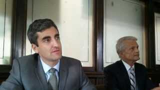 Burlington Mayor Miro Weinberger and Paul Sisson, Chief Administrative Officer, at news conference Monday.