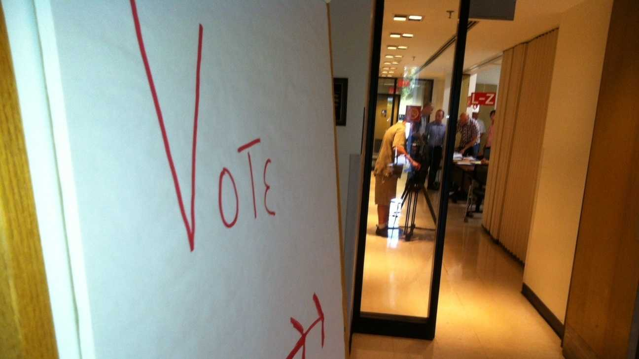 No line for ballots at the Ward Five polling place in Burlington Tuesday morning.