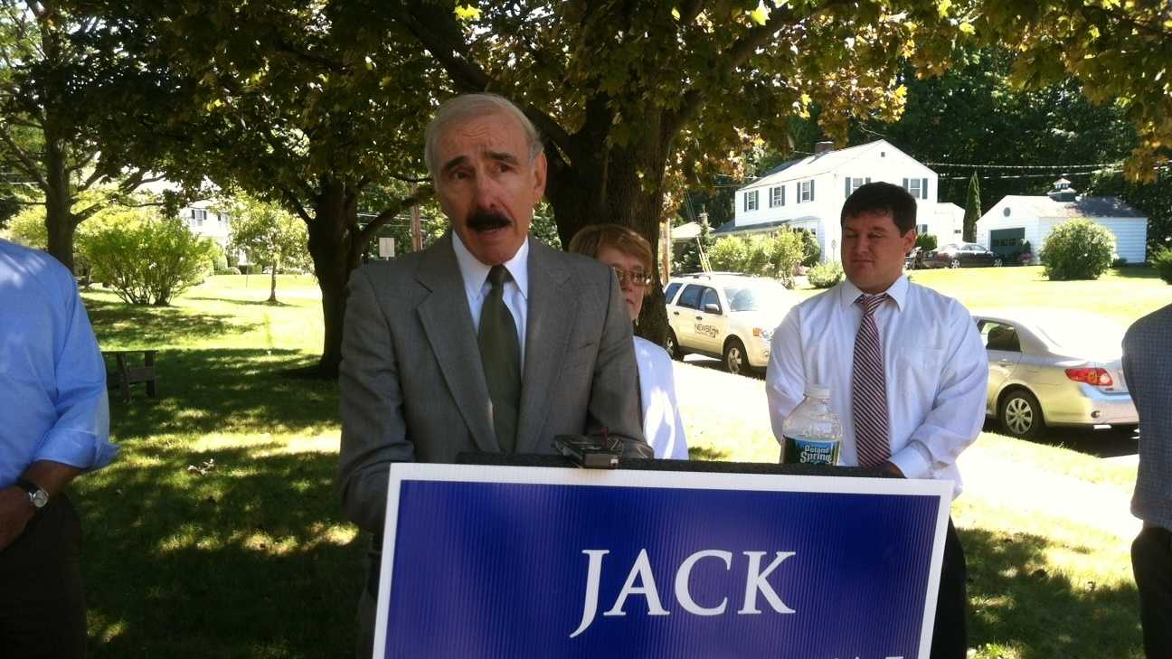 Republican candidate for Attorney General Jack McMullen at a news conference in a Burlington neighborhood that's suffered a rash of break-ins.