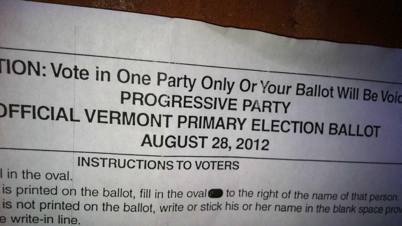The Progressive Party primary ballot.