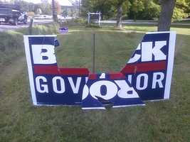 Vandals trash a lawn sign support Vermont Gubernatorial Candidate Randy Brock.